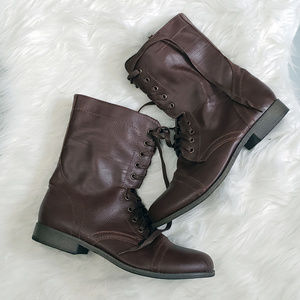 10 Rampage Brown Faux Leather Combat Boots